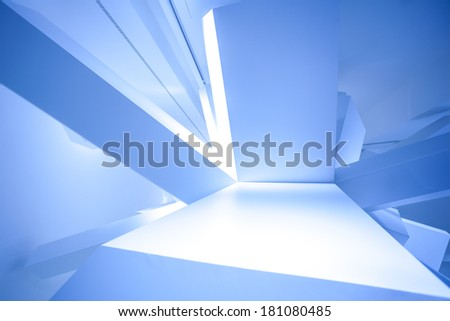 Modern abstract cube construction in blue horizontal view - stock photo