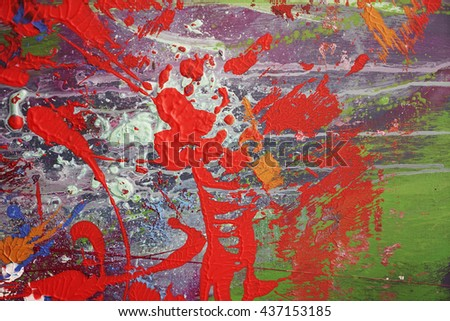 Modern abstract expressive backgrounds, splashes of paint, red green,colorful