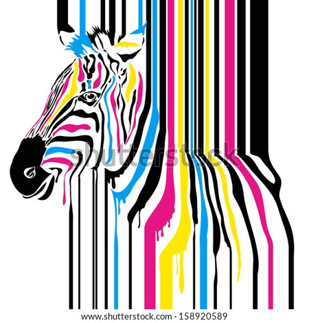 Modern abstract zebra cmyk concept, can be used for print projects, greeting card, tshirt, background - stock photo