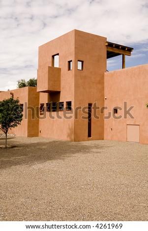Modern Adobe in Southwest - stock photo