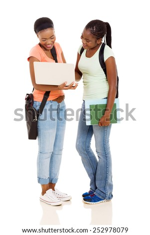 modern african american college students using laptop computer on white background - stock photo