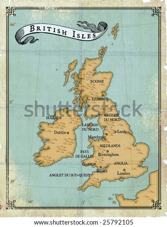 Modern age-old map of British Isles - stock photo