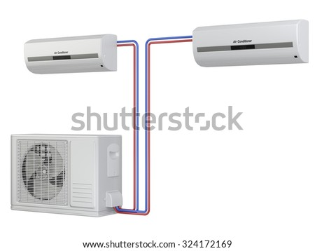 Modern air conditioner system. Installation of equipment. Isolated on white background 3d image - stock photo