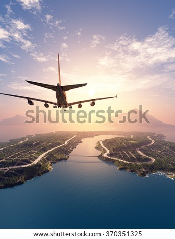 Modern aircraft flies over the island.