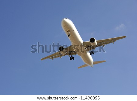 Modern airliner taking off in blue sky