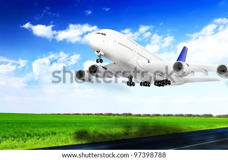 Modern airplane  in  Airport. Take off on runway. - stock photo
