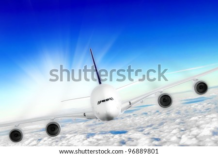 Modern airplane  in the sky near Airport. Approach - stock photo