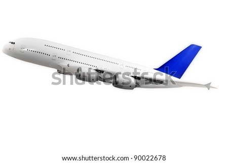 Modern airplane isolated on white background. - stock photo