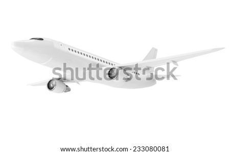 Modern Airplane isolated on white background. Passenger Airplane of My Own Design - stock photo