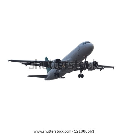 modern airplane isolated on white with clipping path - stock photo