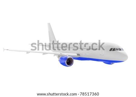 Modern airplane under clouds - stock photo