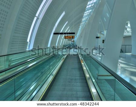 Modern airport interior - stock photo