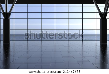 Modern airport passenger terminal. Empty hall interior with ceramic floor to ceiling windows and scenic background - stock photo