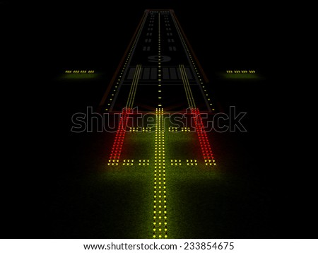 Modern Airport Runway at Night with Colorful Illuminated Lamps - stock photo