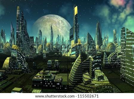 Modern Alien City - stock photo