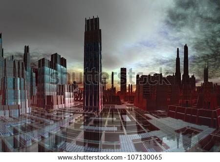 Modern Alien City Skyline - stock photo