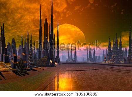 Modern Alien Cityscape - stock photo