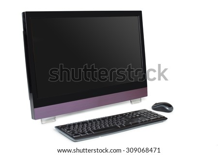 Modern all in one desktop computer with touchscreen isolated on white with keyboard and mouse - stock photo