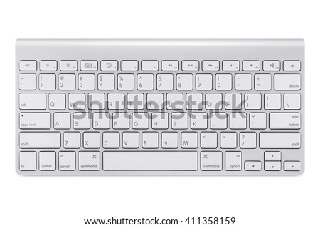 Modern aluminum computer keyboard isolated on white background with cliping path - stock photo