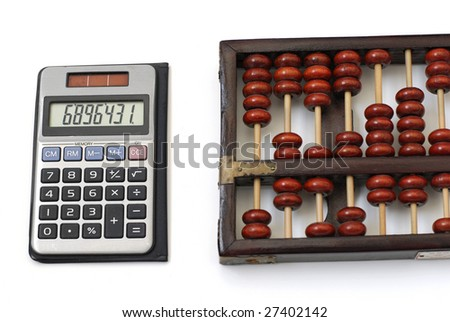 modern and an ancient counting machines. - stock photo