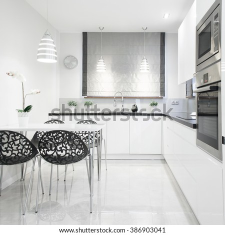 Modern and bright kitchen - stock photo