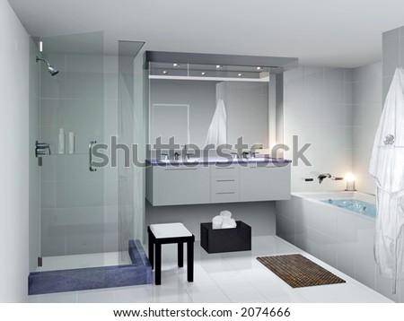 modern and clean bathroom - stock photo