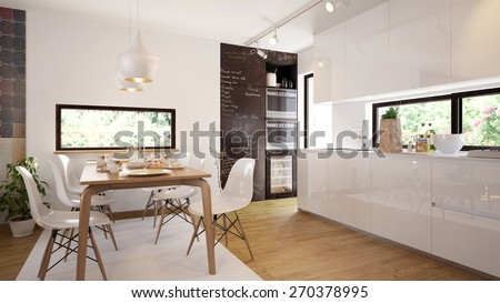 Modern and comfy kitchen and dining room interior (3 d render using 3 d s Max) - stock photo