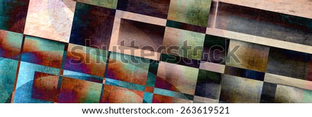 Modern and contemporary abstract painting background in a banner format. - stock photo