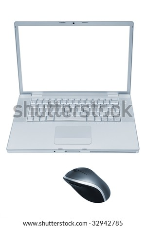 Modern and fashionable laptop with the wireless mouse - stock photo