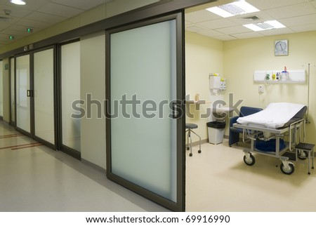modern and fully equipped emergency room care - stock photo