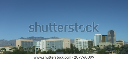 Modern and historic buildings crowding in Tucson downtown, Arizona - stock photo