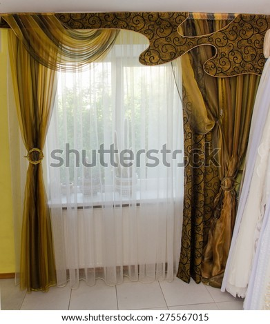 modern and luxurious curtains at home - stock photo