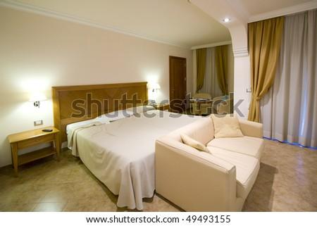 Modern and luxury decorated sleeping room (bedroom) - stock photo