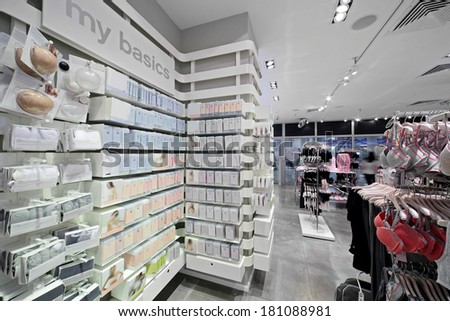 modern and luxury european shop of clothes and underwear - stock photo