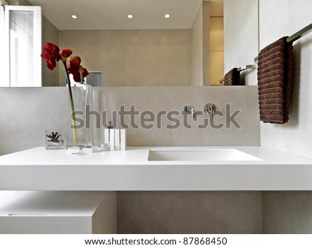 modern and luxury washbasin in modern bathroom with flowers in the vase - stock photo