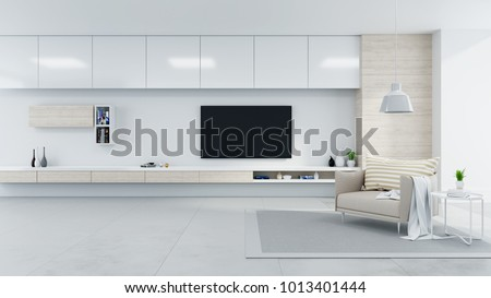 Modern And Minimalist Interior Of Living Room Cozy Concept Brown Armchair With White Tv Sideboard