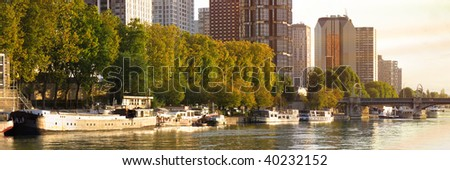modern and new residential area ar paris along the river - stock photo