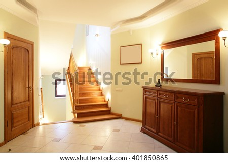 modern and simple interior of hallway at house - stock photo