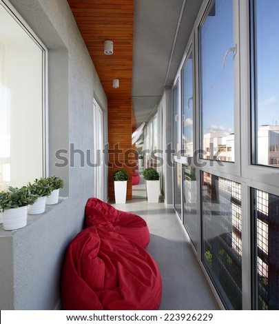 modern and stylish interior of european balcony - stock photo