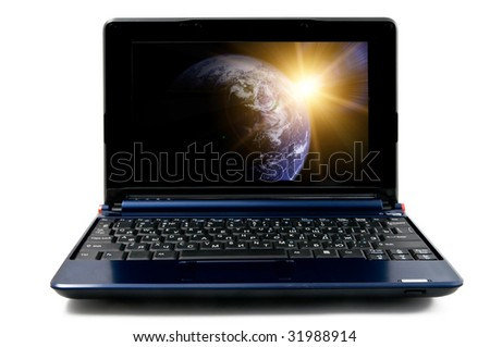 Modern and stylish laptop computer, isolated on a white background