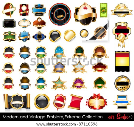 Modern and Vintage Emblems Extreme Collection. Big variety of emblems,  vintage labels and sticker to use for advertise or food or bottle packaging. - stock photo