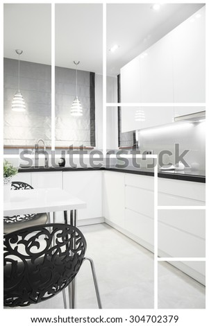 Modern and white kitchen in the house