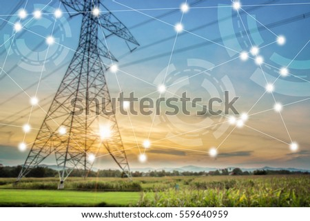modern and wireless sensor network, sensor node and connecting line, ICT (information communication technology), internet of things, abstract image visual, high voltage towers background.