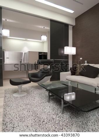 modern apartment - stock photo