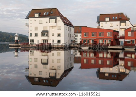 Modern apartment area in Stockholm - stock photo