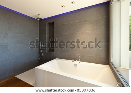 Modern apartment, bath and shower - stock photo