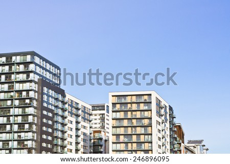 Modern apartment blocks in the UK - stock photo