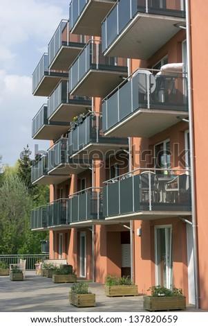 Modern apartment building - stock photo