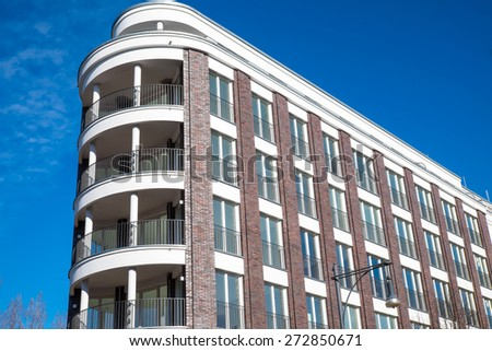 Modern apartment building seen in Berlin, Germany - stock photo