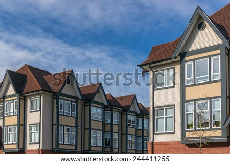 Modern apartment buildings in British Columbia, Canada. - stock photo